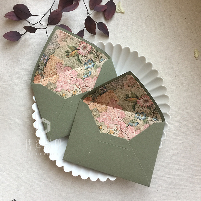 5pcs/pack Fresh Flowers And Earth Paper Retro Green Envelopes 115mmX160mm Gift Envelopes Wedding Invitation Envelopes