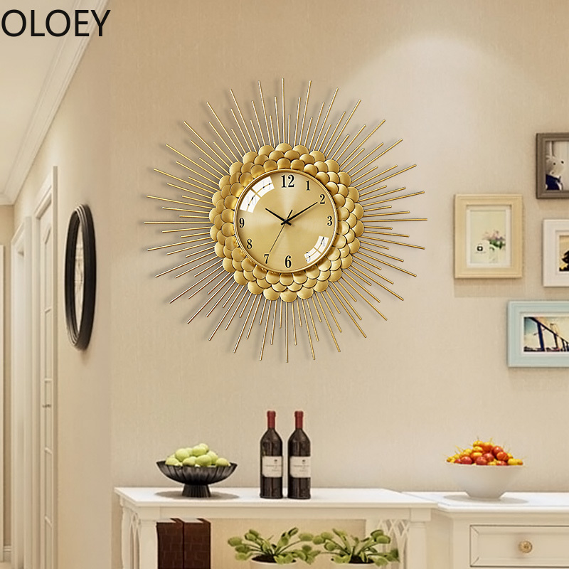 Gold Luxury Wall Clock Large Metal Living Room Modern Big Wall Watches Nordic 3d Clocks Vintage Home Decor Office Kitchen Saat Wall Clocks Aliexpress