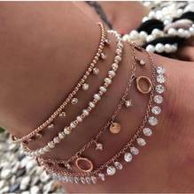 Charm Shiny Crystal Pendant Anklet Set White Beads Fine Gold Anklets Multilayer Geometric Pendant Foot Chain jewelry(Hong Kong,China)