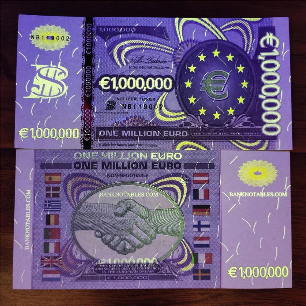 1 pces um milhão de notas de euro não-moeda euros billetes notas de papel colecionáveis