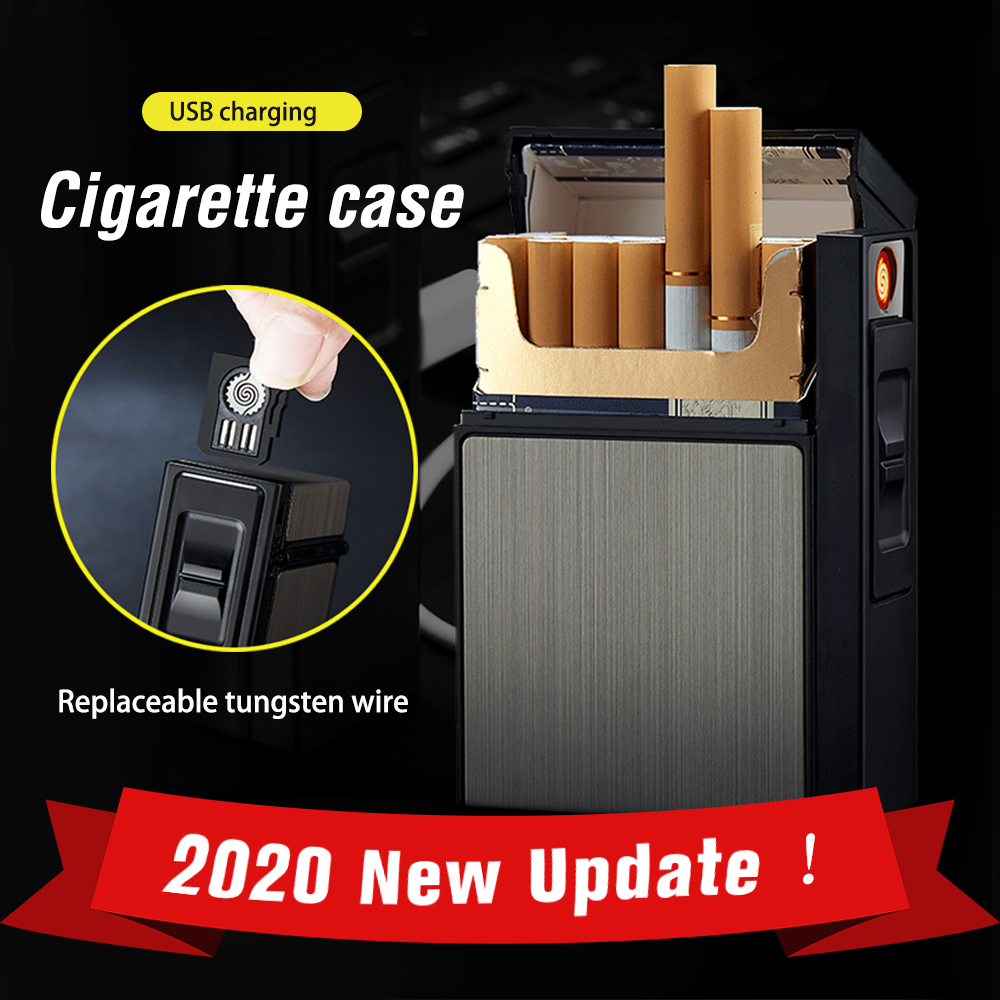 Metal Cigarette Case Box Lighter Replaceable Igniter Tungsten Wire USB Electronic Tobacco Waterproof Lighters 20pcs Cigarette