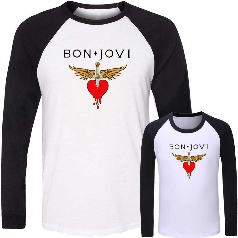 Bon Jovi Rock Band Bazinga TV Show Design Matching Family Outfits T-shirt Dad Mom Daughter Son Long Sleeve Tee Printed Tops Gift