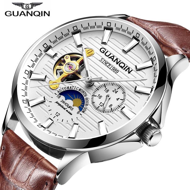 GUANQIN 2020 Men's Watches Top Brand Luxury Automatic Watch Tourbillon Waterproof Mechanical Wrist Watch Relogio Masculino