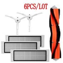 3PCS HEPA filter% 2B1PC main brush% 2B2PCS side brush for Xiaomi Mi Robot roborock S50 S51 s55 T4 T6 T7 T60 Пылесос пылесос