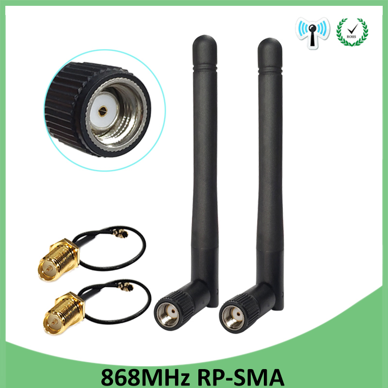 2pcs 868MHz 915MHz Antenna 3dbi RP-SMA Connector GSM 915 868 MHz Antena Antenne Waterproof +21cm SMA Male /u.FL Pigtail Cable