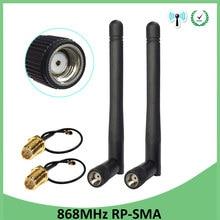 2 pces 868 mhz 915 mhz antena 3dbi RP-SMA conector gsm 915 868 mhz antenas à prova dwaterproof água + 21cm sma macho/u. fl trança cabo