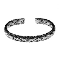 Handmade 925 sterling silver vintage braided bangles for men women making peace lines shifting good luck bracelets fine jewelry