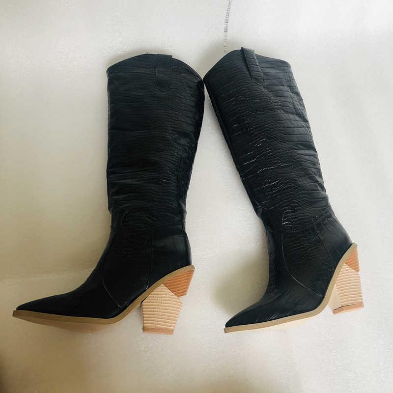 Zwart Geel Wit Knie Hoge Laarzen Western Cowboy Laarzen Voor Vrouwen Lange Winter Laarzen Wees Teen Cowgirl Wiggen Motorlaarzen