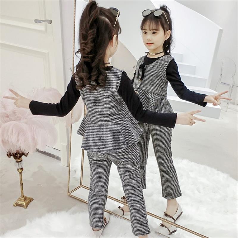 High quality baby girl autumn dress plaid vest three suit 2019 new pants long sleeve children's suit