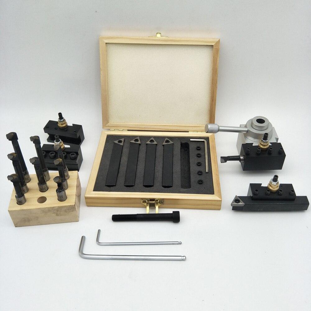 Meterk petite taille Portable 19 pièces changement rapide poste Kit de support barre dalésage tournant ensemble doutils support pour CNC Mini tour lame