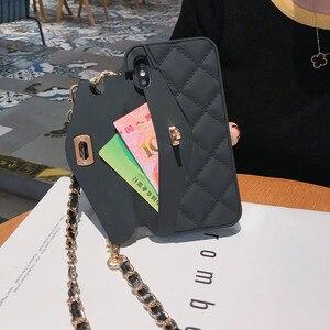 Image 2 - Кросс боди Чехол бумажник для iPhone 12 Pro mini 11 Pro XS MAX XR X 8 Plus чехол с отделением для карт Сумочка Кошелек с длинным ремешком и цепочкой