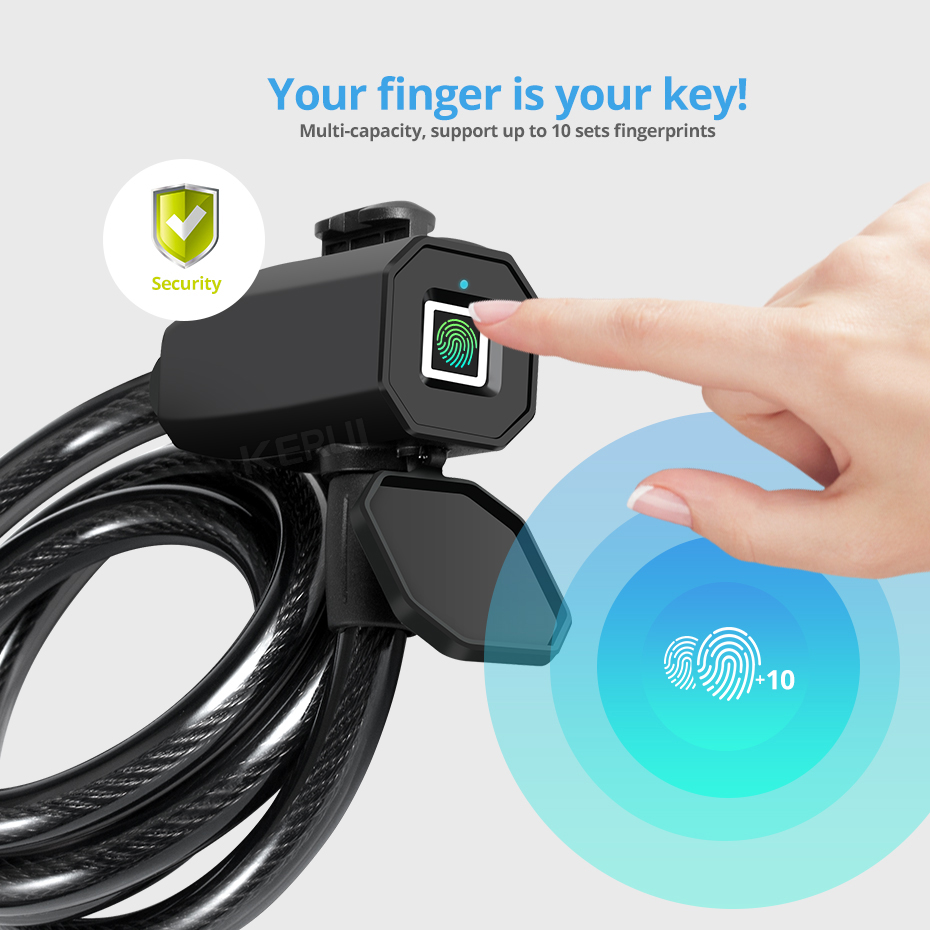 Bike Steel Wire Lock Fingerprint APP Unlock Bicycle Security Anti-theft Lock Hot