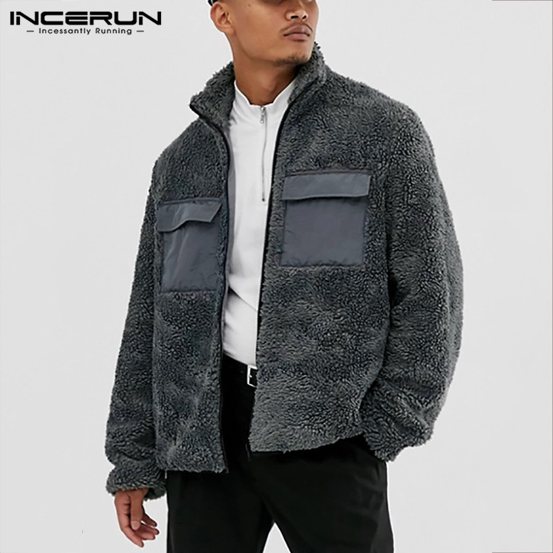 Autumn Winter INCERUN Men Warm Jackets Social Lapel Baggy Comfortable Solid Zipper Pockets Mens Outerwear Coats Masculino 2020