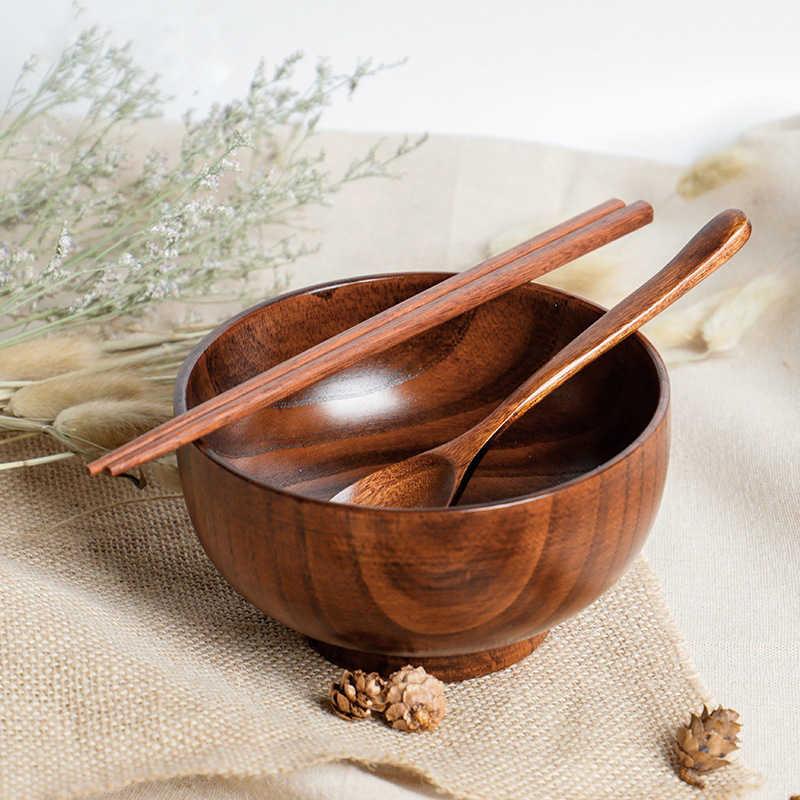 Bol salade riz fruits   En bois naturel, bol à salade riz bol à aliments, ustensile de cuisine, enfants bol à Snack pour enfants décoration de la maison, bol en bois
