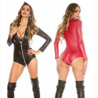 Sexy wetlook Dessous Frauen Latex Catsuit Faux Leder Front Zipper Gabelung Bodysuit Fetisch Kostüme Erotische Körper Anzug Plus Größe
