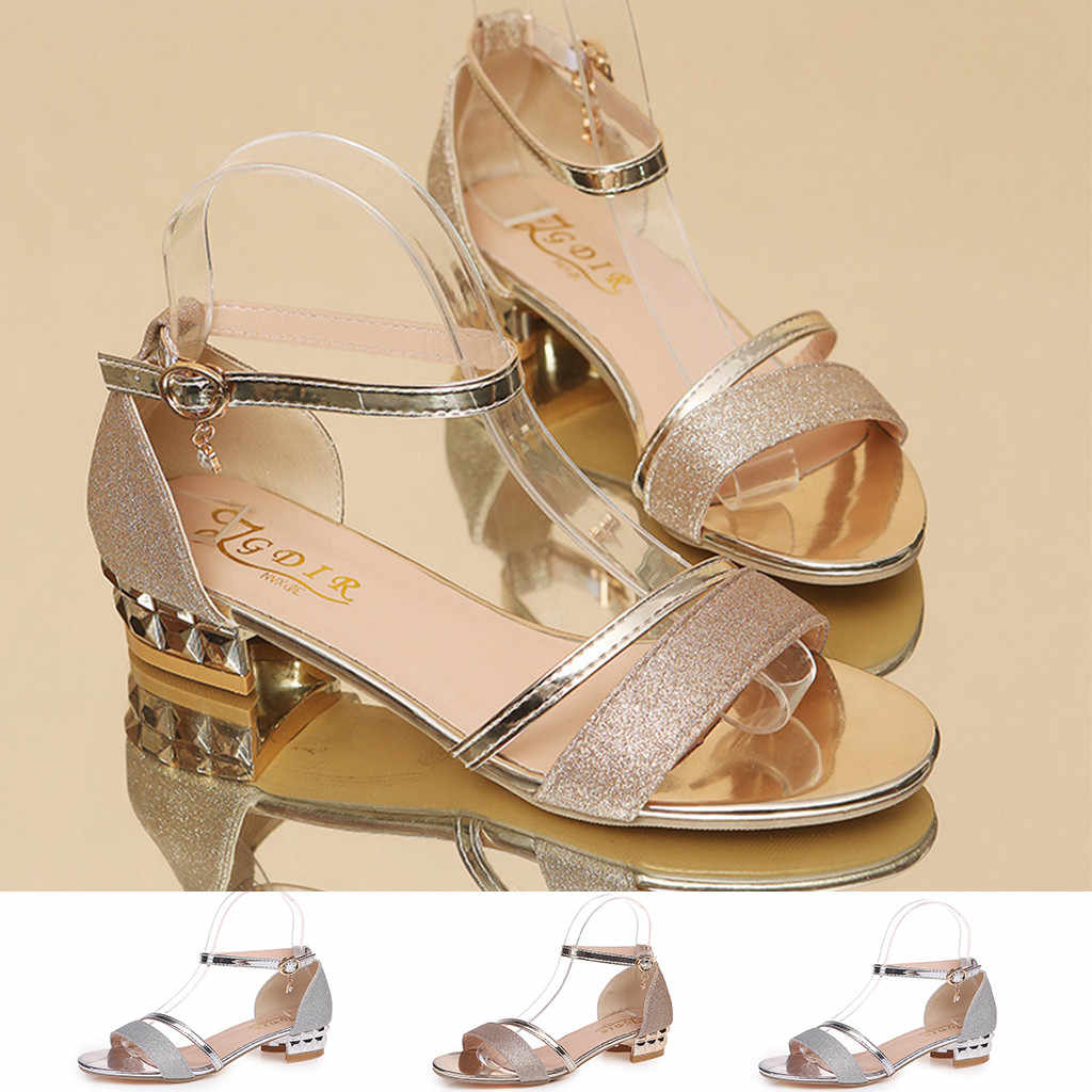 Mode Sandalen Ankle Mid Ferse Sandalen Frauen Block Party Offene spitze Schuhe Damen Runde Kappe Schuhe zapatos de mujer tacon negro # G10