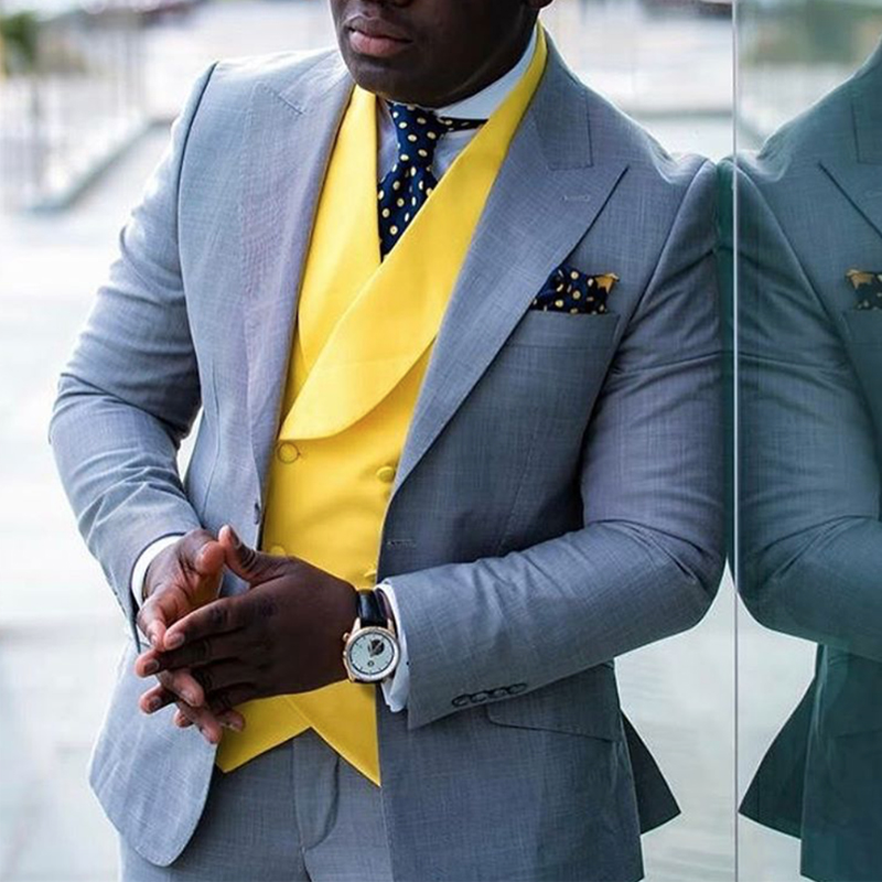 Gray Men Suits Slim fit with Yellow Waistcoat 3 Piece Wedding Tuxedo for African Male Fashion Costume Jacket Pants New Arrival