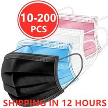 10 50 100 200pcs maska jednorazowa maska na twarz czarna Nonwove 3 warstwa usta maska z filtrem przeciwkurzowe oddychające ochronne maski dla dorosłych tanie tanio LISM Z Chin Kontynentalnych osobiste NONE jednorazowe Dla osób dorosłych Non-woven fabric + melt-blown fabric + non-woven fabric