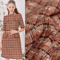 Pearlsilk France Orange Pink Tweed Fabrics Autumn Jacket Dress Suits Garment Materials The Sewing Cloth Meter Freeshipping