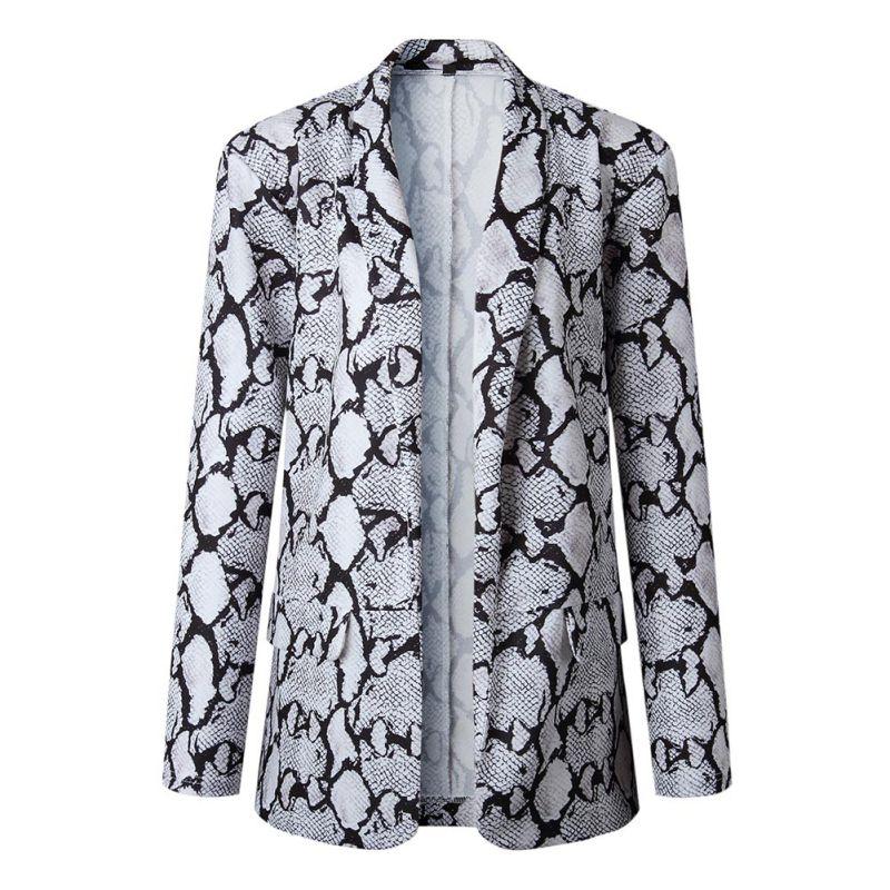 Office Lady Stylish Long Sleeve Lapel Jacket Women Autumn Blazer Winter Warm Leopard Coat Up To Date