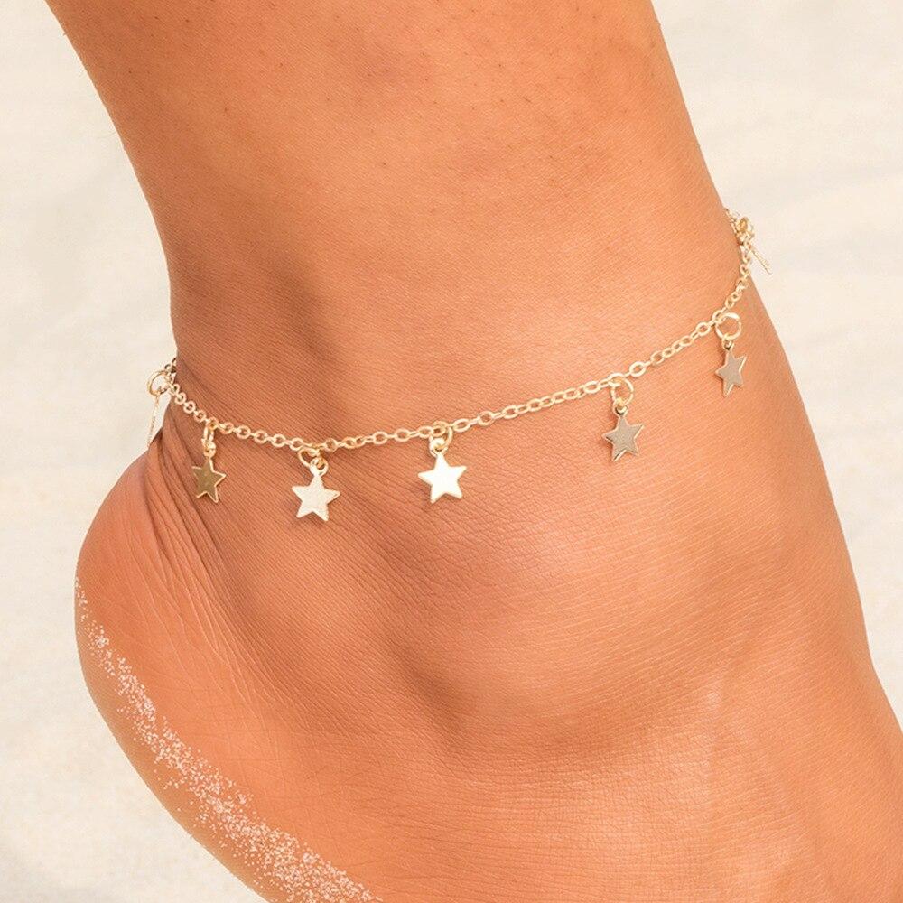 Moda-Simple-estrella-colgante-tobilleras-femeninas-sandalias-descalzas-Cadena-de-pie-2019-nuevas-pulseras-de-tobillo