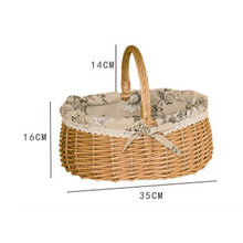 Hand-Woven Willow Wicker Rattan Camping Sammeln Picknick Korb w/Griff Picknick Lebensmittel Container(China)