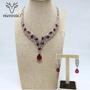 Image 5 - Viennois Trendy Jewelry Set for Women Colorful Zirconia Necklace and Earrings Jewelry Set Fashion Jewelry Set for Women