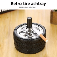 Press Tire shape Car Ashtray With lid windproof rotation Flame Retardant Ash tray For Car Accessories Cigarette Cylinder Holder
