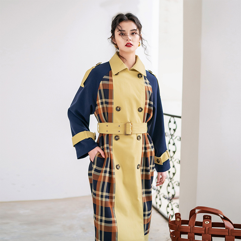 2019 female new autumn and winter Korean style plaid stitching outerwear long British- style loose   trench