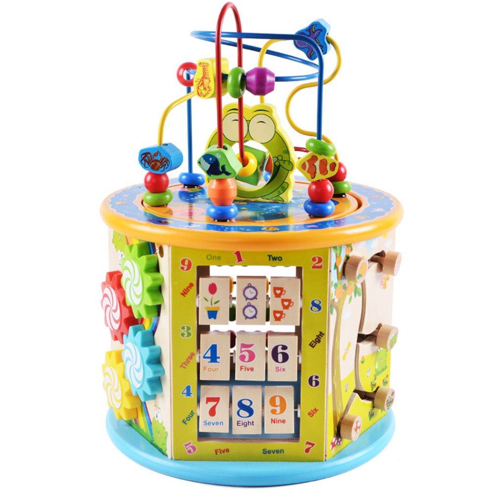 Montessori Early Childhood Learning Educationa Toy Multi-Function Six-Sided Large Round Bead Treasure Box Puzzle Beaded Math Toy
