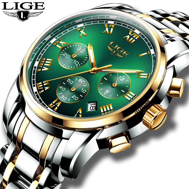 LIGE New Watches Men Luxury Brand Chronograph Male Sport Watches Waterproof Stainless Steel Quartz Men Watch Relogio Masculino