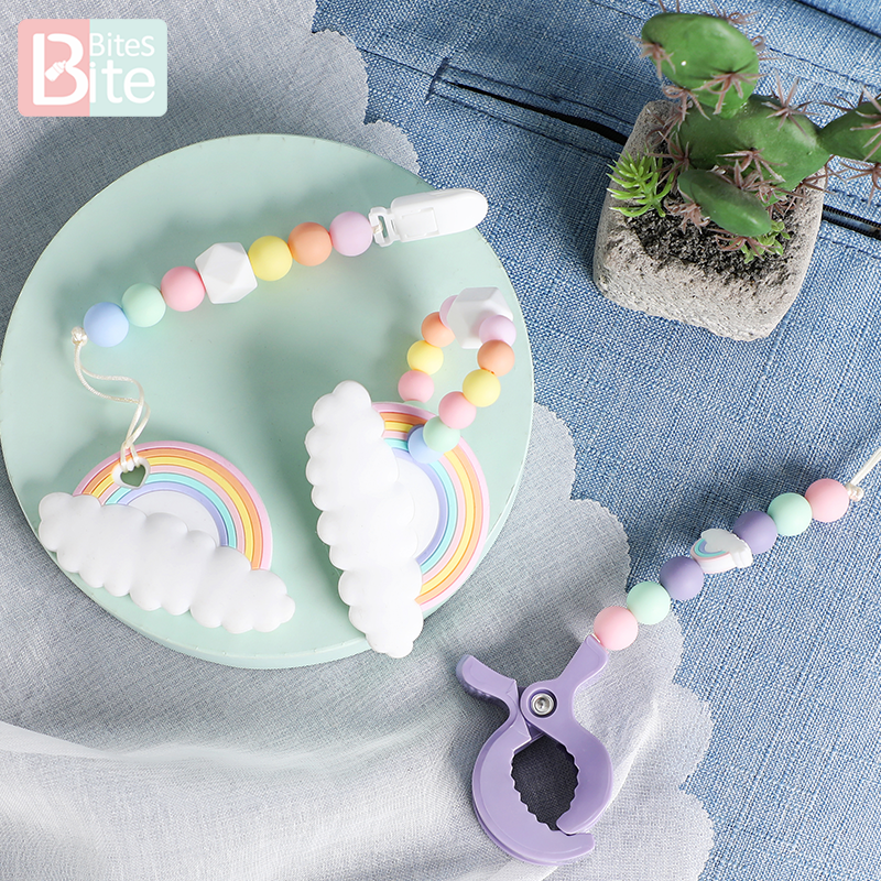 Baby Silicone Teether Beads Cartoon Rainbow Cloud Tiny Rod Teething Rodent Food Grade Pacifier Chain Baby Bracelet Trolley Chain