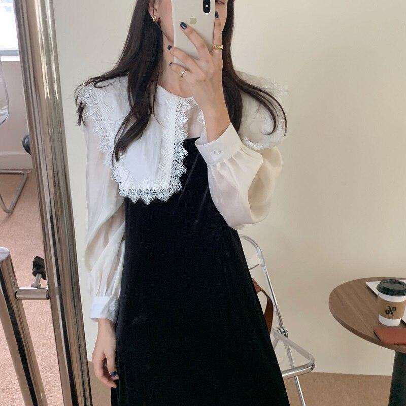 H10b899601a02450084bfc97ec842879ej - Autumn / Winter Puritan Lace Collar Long Sleeves Velvet Patchwork Midi Dress