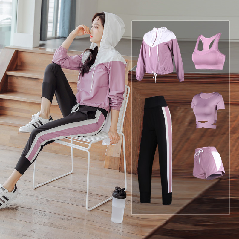 Ports Running Women Loose 5 Piece Set Quick Dry Coats+bra+tshirt+shorts+pants Fitness Gym Outdoor Suit Clothing