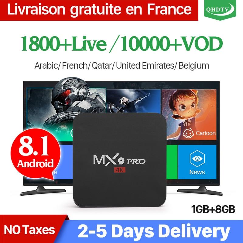 IPTV Frankreich Box MX9Pro Android 8.1 mit 1 Jahr QHDTV Abonnement IPTV Französisch Belgien Niederlande Afrika Marokko Arabisch IP TV