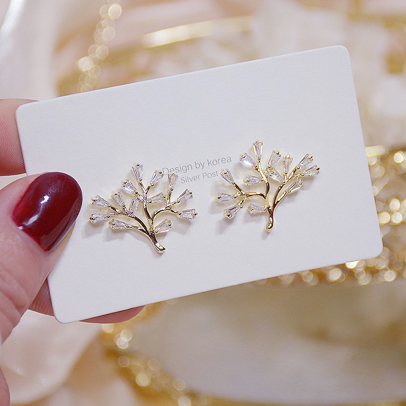 Ins Hot Sale Fashion Transparent Crystal Tree Leaf Earring for Girl 14K Real Gold AAA Zirconia Stud Earring Bijoux Pendant Gift