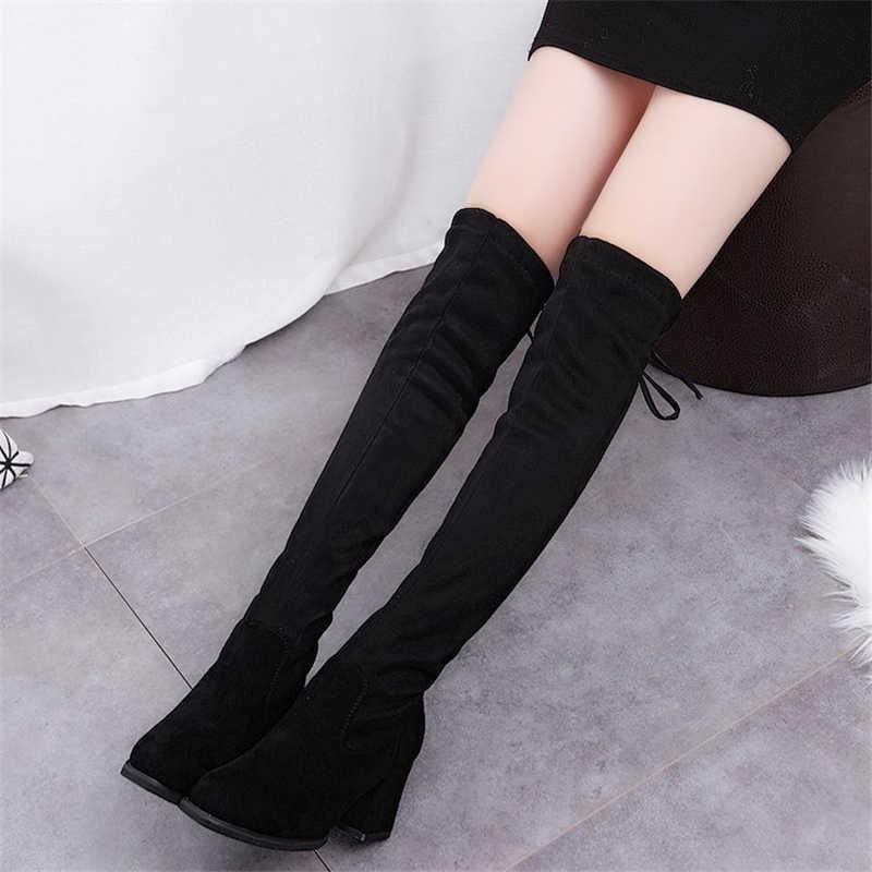 BONJOMARISA ใหม่ Dropshipping สุภาพสตรีเซ็กซี่เข่าสูงรองเท้าผู้หญิงสีดำยาวรองเท้า Elegant รองเท้าส้นสูงรองเท้าผู้หญิง