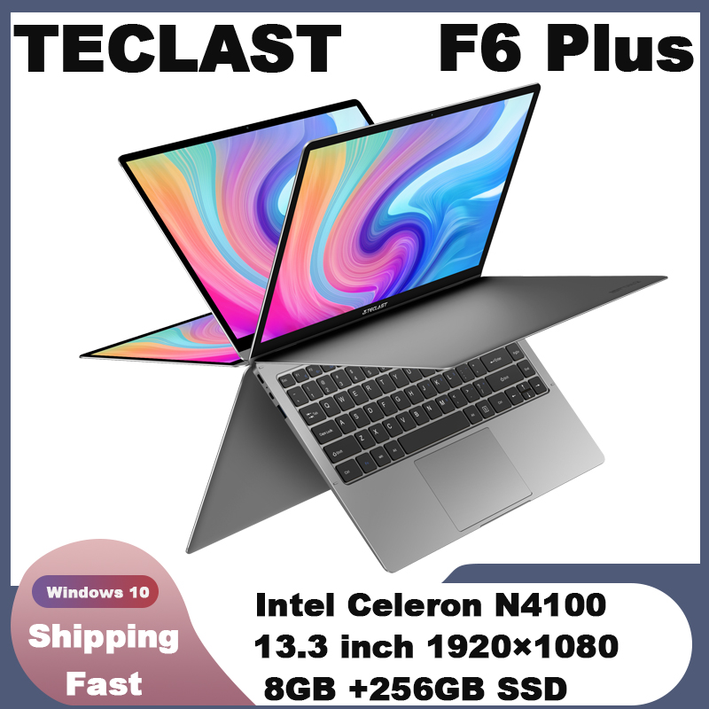 Teclast F6 Plus Laptop Intel Gemini Lake N4100 Quad Core 8GB RAM 256GB SSD Windows10 360 Rotating Touch Screen 13 3inch Notebook PC