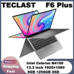 Teclast F6 Plus Laptop Intel Gemini Lake N4100 czterordzeniowy 8GB RAM 256GB SSD Windows10 360 obrotowy ekran dotykowy 13.3