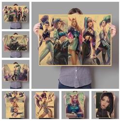Популярная игра «Лига Легенд», новейшая кожа KDA girl group, семейное украшение на стену в стиле ретро, постер для рисования 159