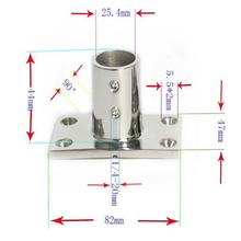 316 Stainless Steel 90 Degree Boat Deck Handrail Rail Fitting Rectangular Base for 1 inch 25mm Tubing Pipes