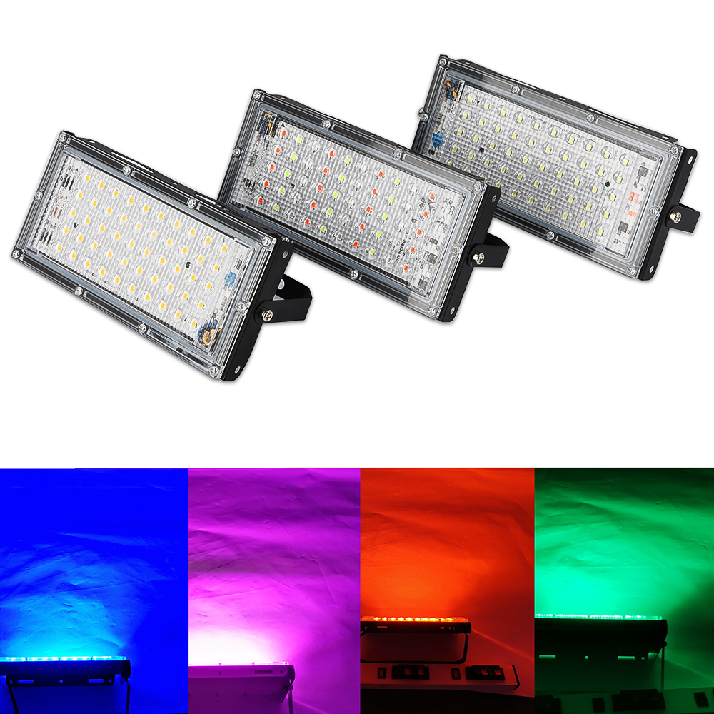 Led Spotlight Outdoor RGB Flood Light 50W 100W AC 220V Waterproof IP66 Reflector Projector Lamp With Color Remote Controller