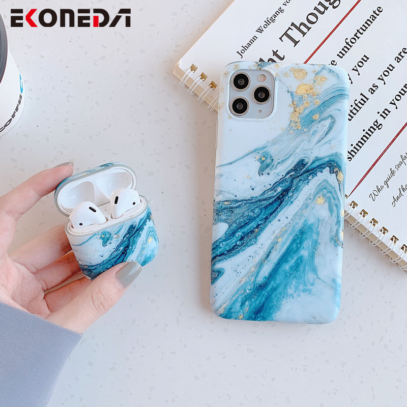EKONEDA Soft Silicone Earphone Case For Airpods 2 Case Luxury Blue Marble Protective Cover Shell For Airpod Case