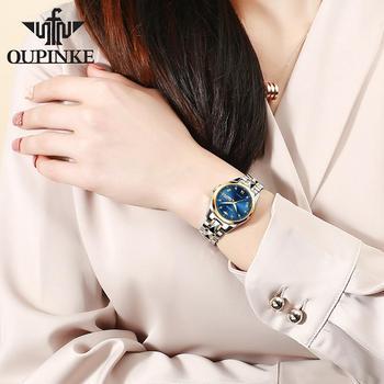 OUPINKE Top Luxury Women Wristwatch Automatic Mechanical Waterproof Watch Sapphire Mirror Tungsten Steel Watchstrap Lady Watches 4
