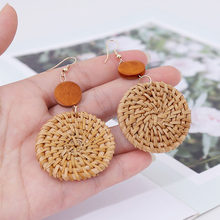 Korea Handmade Wooden Straw Weaved Rattan Knit Vine Braid Drop Earrings New Fashion Geometric Long Earring Jewelry(China)