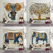 Elephant Oil Painting Tapestry 5 Style Bohemian Elephant Tapestry Indian Wall Hanging Print Bedspread Throw Home Decor(China)