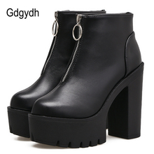 Gdgydh Sexy Zipper Chunky Ankle Boots Heels Platform Shoes For Women 2019 New Autumn Female Black Leather Punk Style Brand