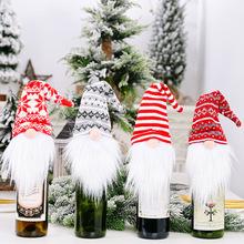 2021 noworoczny prezent święty mikołaj butelka wina osłona przeciwpyłowa Xmas ozdoby świąteczne dla domu Navidad 2020 dekoracja stołu obiadowego tanie tanio CN (pochodzenie) Tak ( 50 sztuk) COTTON HBS342 Wine bottle cover Knitted hat forest old man Santa claus snowflake 38*12cm