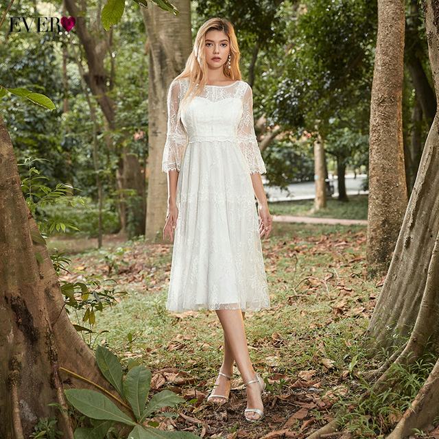 Elegant Cream Homecoming Dresses Ever Pretty EP00456CR A-Line 3/4 Sleeve Knee-Length Floral Lace Party Gowns Vestido De Festa