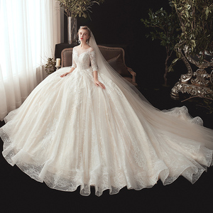 Image 3 - חדש מגיע שלושה רבעון שרוול ואגלי אפליקציות תחרה נסיכת כדור שמלת חתונת שמלות בתוספת גודל  סין חלוק Mariee